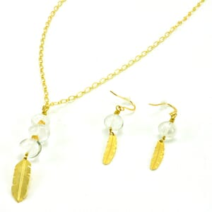 Air - stylish jewelry set of earrings and necklace with crystal quartz