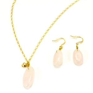 Love - stylish jewelry set earrings and necklace with rose quartz