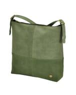 Amena – stijlvolle two-tone dames handtas van semi-ecoleer - groen