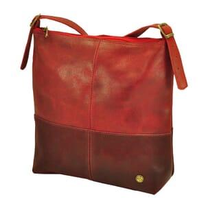 Amena – stijlvolle two-tone dames handtas van semi-ecoleer - rood
