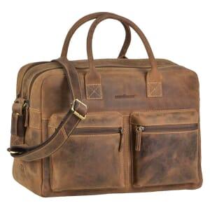 """Austin - grote werktas met 15,6"""" laptopvak van vintage bruin ecoleer"""