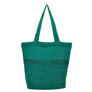 Bahra - spacious cotton shopper with hip pattern - sea green