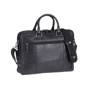 Lincoln - 15.6 inch laptop briefcase of black leather