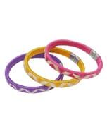 Set van 3 cana flecha armbanden - paars/geel/roze