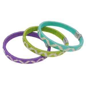 Set van 3 cana flecha armbanden - paars/groen/turkoois