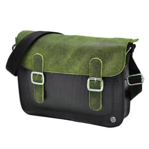 Cartera Deluxe  schoudertas van autoband/ecoleer - groen