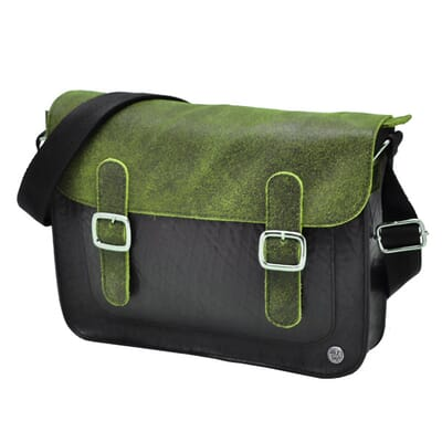 Hip strong satchel made from inner tire and leather eco & fair design