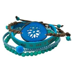 Colombianas - set van 4 handgemaakte armbandjes - turkoois/blauw