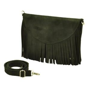 Conga - ecoleren schoudertasje / clutch met franjes - zwart