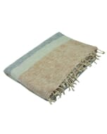 Indra - 'yakwol' plaid of terrasdeken - crème grijs bruin gestreept
