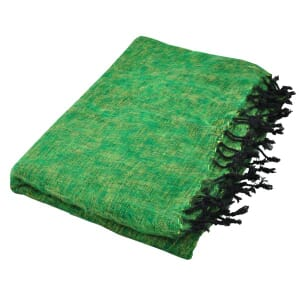 Indra - plaid, throw or blanket from yak wool - green