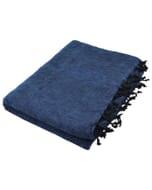 Indra - 'yakwol' plaid of terrasdeken - jeansblauw