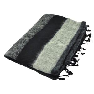 Indra - 'yakwol' plaid of woondeken - zwart/grijs gestreept