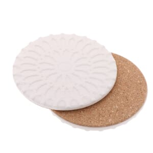 Sintra – luxury design coaster of ceramic and cork - white
