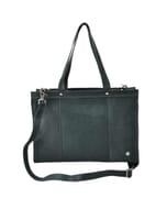 Elegante - 14 inch dames laptoptas ecoleer - blauwantraciet