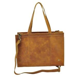 Elegante - 14 inch dames laptoptas ecoleer - honingbruin