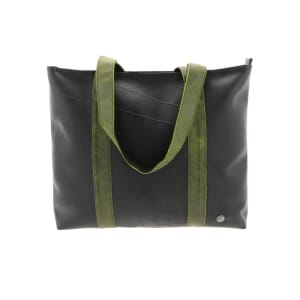 Ramblas – stylish shopper from tyre tube and eco leather - green