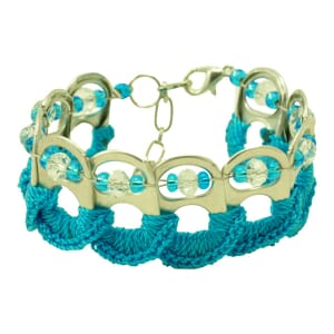 Esperanza bracelet from ring pulls - turquoise