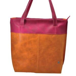 Estilo - shopper van ecoleer in oranje-fuchsia