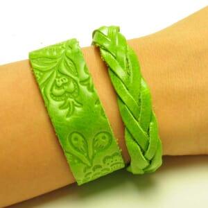 Flor & Trenza: set hippe armbanden - lichtgroen