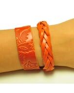 Flor & Trenza: set hippe armbanden - oranje