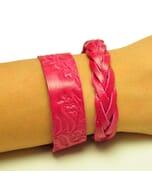 Flor & Trenza: set hippe armbanden - roze