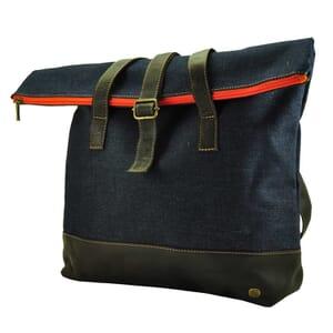 Ruime roll top shopper/schoudertas van spijkerstof en vaquetta leer - sample