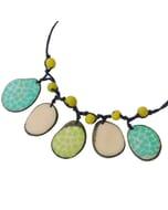 Girasol - verstelbare ketting van tagua - turkoois/groen