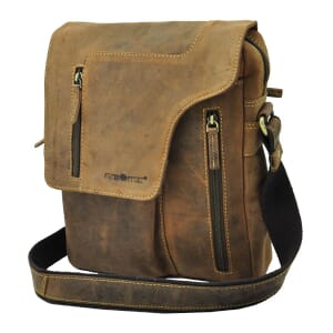 Vintage bruine leren schoudertas met opvallende klep - Santa Fé