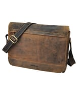 "Vintage bruine leren messenger bag met 14"" laptopvak - Dakota"