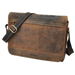 "Dakota - vintage bruine leren messenger bag met 14"" laptopvak"