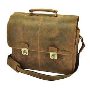 """Houston - grote aktentas/laptoptas 15,6"""" vintage ecoleer"""