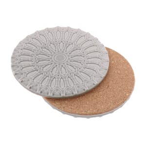 Sintra – luxury design coaster of ceramic and cork - soft grey