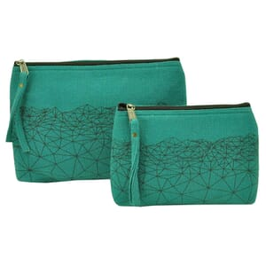 Halla - purse or make-up case made of thick hand woven cotton - sea green