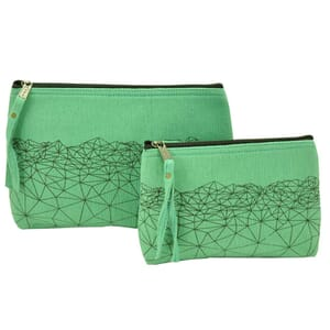 Halla - purse or make-up case made of thick hand woven cotton - mint green