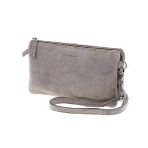 Lucy – versatile suede shoulder bag or clutch with many pockets - soft grey
