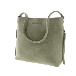Phoebe – stylish suede handbag with slight A-line - soft green