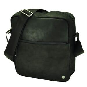Hugo - stoere schouder tas van ecoleer - zwart