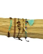 Ibiza inspired armbanden set met halfedelstenen en glaskraaltjes - aqua bruin