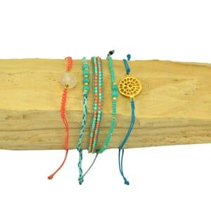 Ibiza inspired bracelet set - turquoise coral