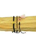 Ibiza inspired armbanden set met glaskraaltjes - zwart goud