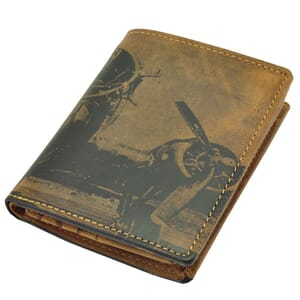 Kentucky - eco leather men's purse with aircraft-print