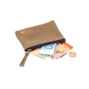 Wally - eco leather mini wallet with zipper - bizon brown