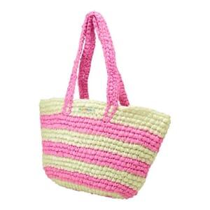 Kratie hippe shopper van gerecycled plastic -gestreept roze/wit