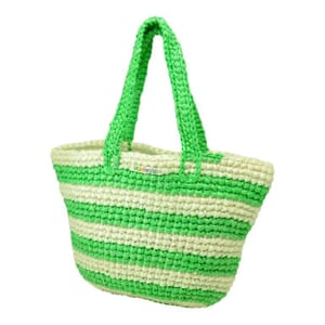 Kratie hippe shopper van gerecycled plastic -gestreept groen/wit