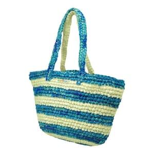 Kratie hippe shopper van gerecycled plastic -gestreept blauw/wit