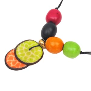 Lotus adjustable tagua necklace - multicolour