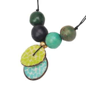 Lotus adjustable tagua necklace - ocean