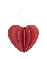 Lovi houten wens-/briefkaart met 3D hart 6,8 cm - rood