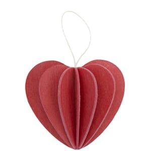 Lovi houten wens-/briefkaart met 3D hart 4,5 cm - rood